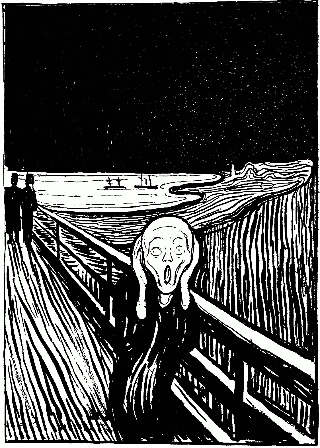 This version adapts the 1985 lithograph print version of The Scream by replacing the sky with a time-skewed starry sky, with low, hazy clouds on the horizon. The Screamer is still in the fireground, screaming.