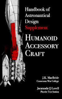A black and white cover showing a spaceship pointed upwards, with particular design elements picked out in red. The title and byline text is in white, with the word 'Supplement' picked out in red to match the red spaceship elements.