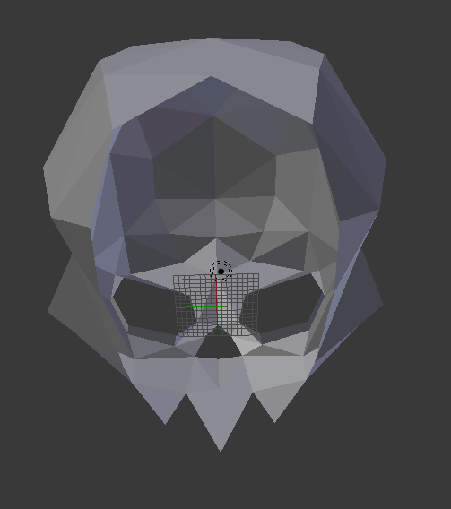 A screenshot of Blender, showing a shaded stylized skull from a position underneath the skull, looking up through its neck opening.