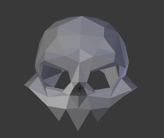 A screenshot of Blender, showing a shaded stylized skull from a position directly in front of the skull. The skull is rendered isometrically, without the benefit of perspective.