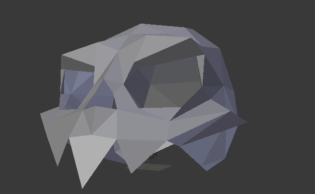 A screenshot of Blender, showing a shaded stylized skull from an angle level with the left cheekbone.