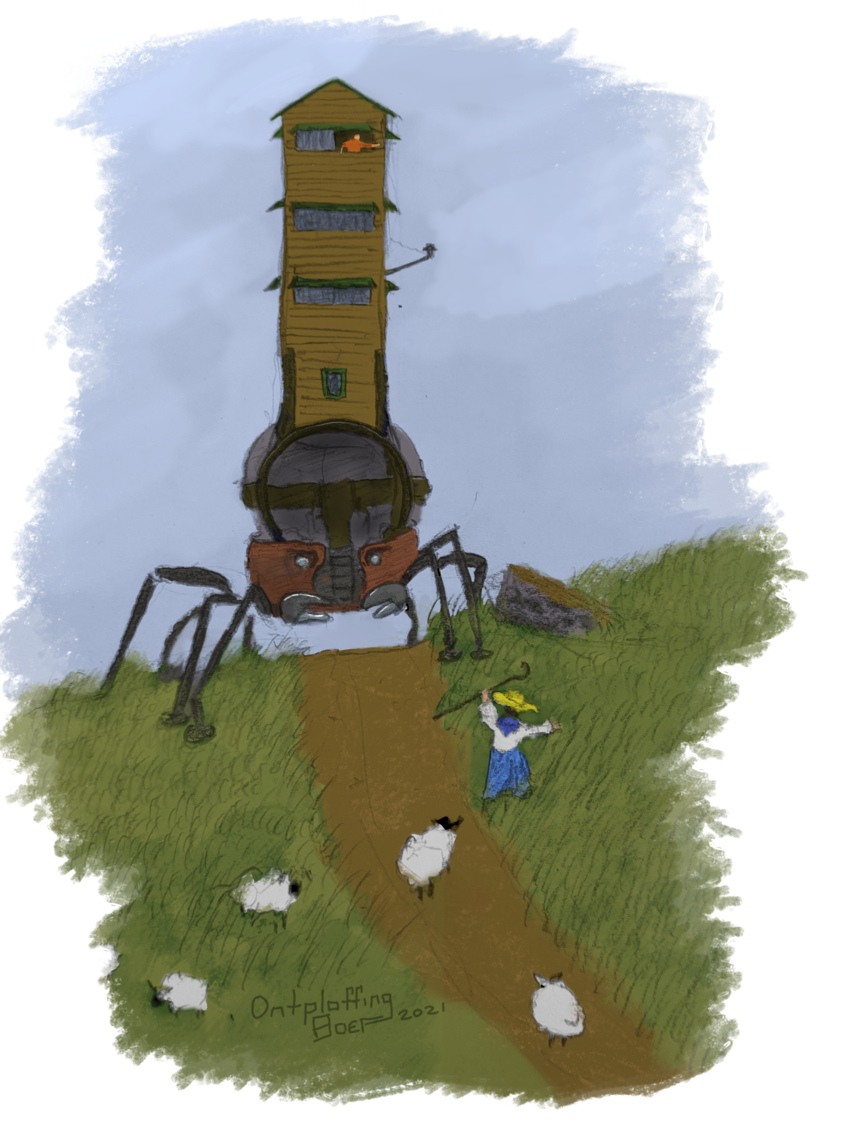 A crablike walker wearing a big circle on its back with a tower on top has creted a hill. The road is blocked by a shepherd, who waves her crook at the man driving the tower.